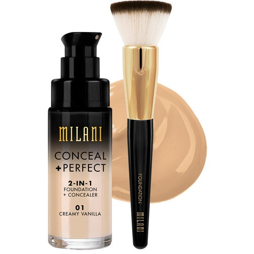 Milani Cosmetics Milani Conceal & Perfect Liquid Foundation Sand & Brush