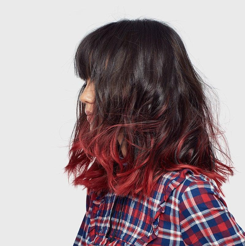 färga svart hår rött