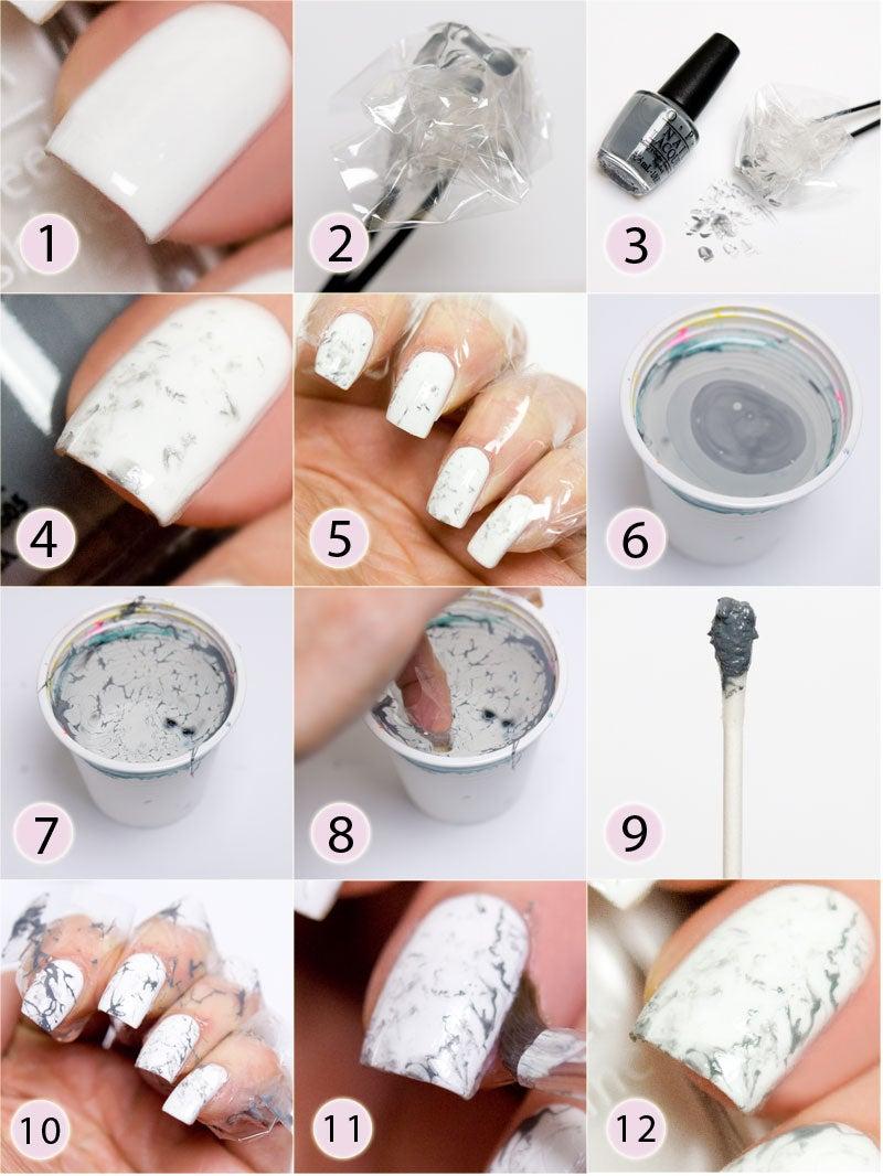 hur gör man marmor naglar