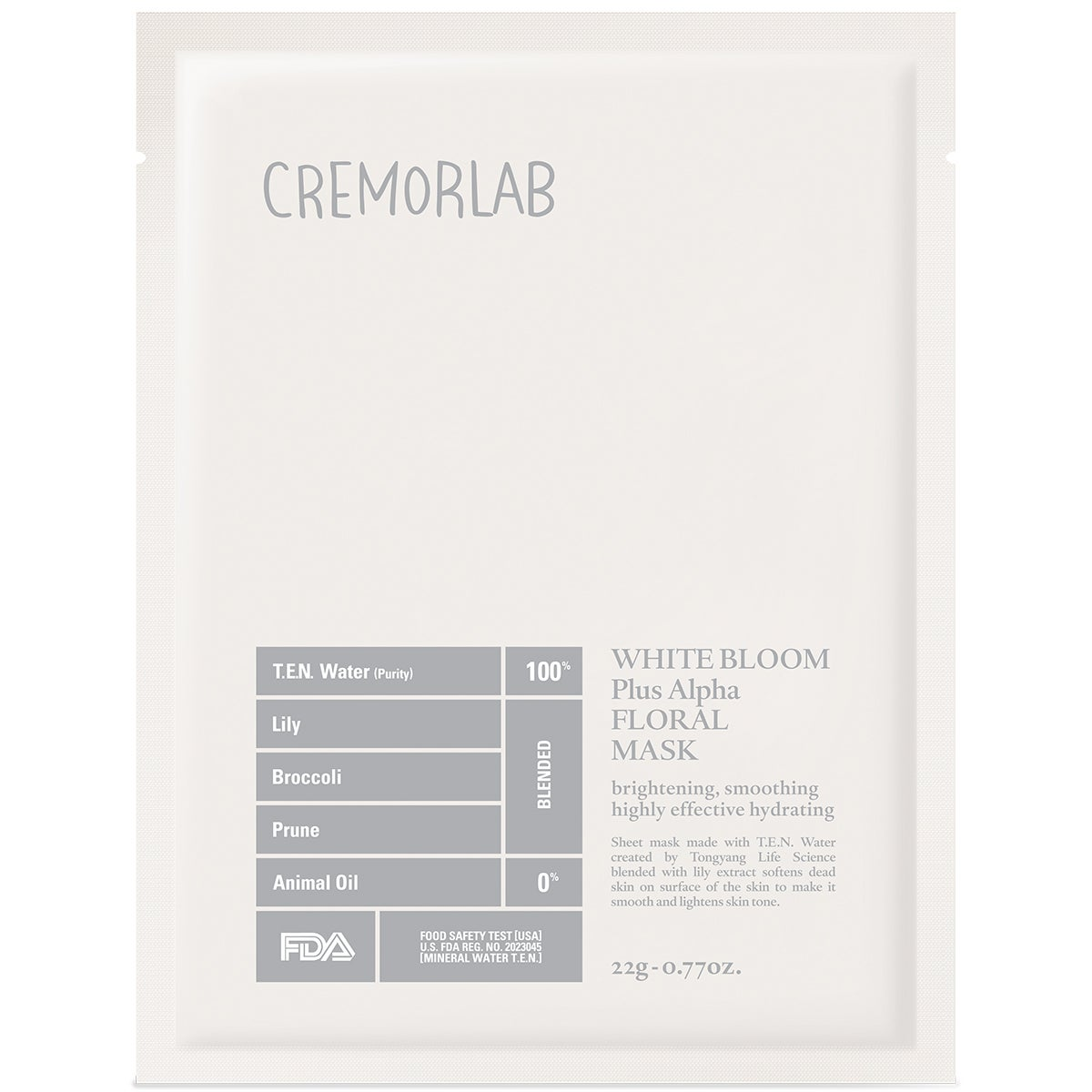 Cremorlab White Bloom Triple Bright Floral Mask