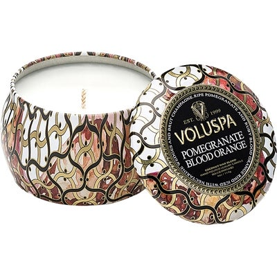 Voluspa Decorative Tin Candle Pomegranate Blood Orange